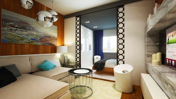 Вариант планировки помещения 20 квадратных метров