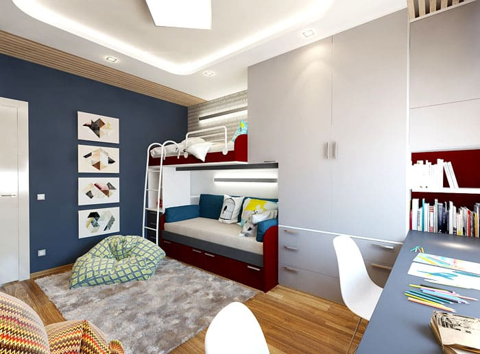Отличный вариант с двухъярусной кроватью, смежной со шкафом. Это удачная планировка небольшой комнаты