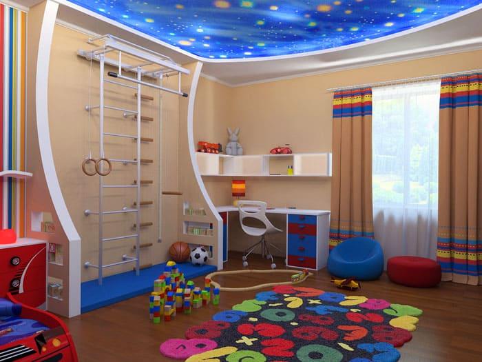 Игровую зону располагают около стен или в углу, но центр комнаты всё равно следует оставлять свободным для проявления мальчишеской активности