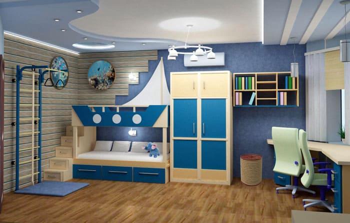 Классный интерьер детской для 2 мальчиков