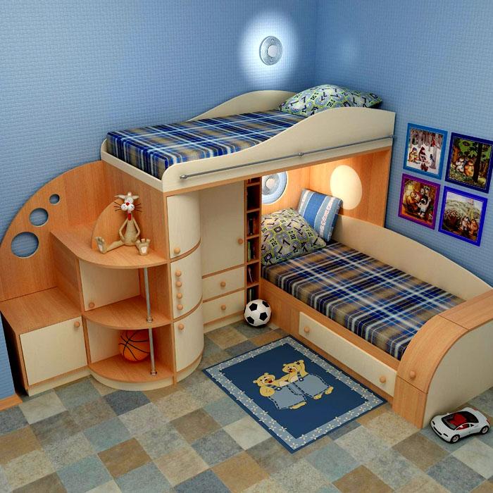 Если конструкция двухъярусная, то наверх отправляют спать более спокойного ребёнка