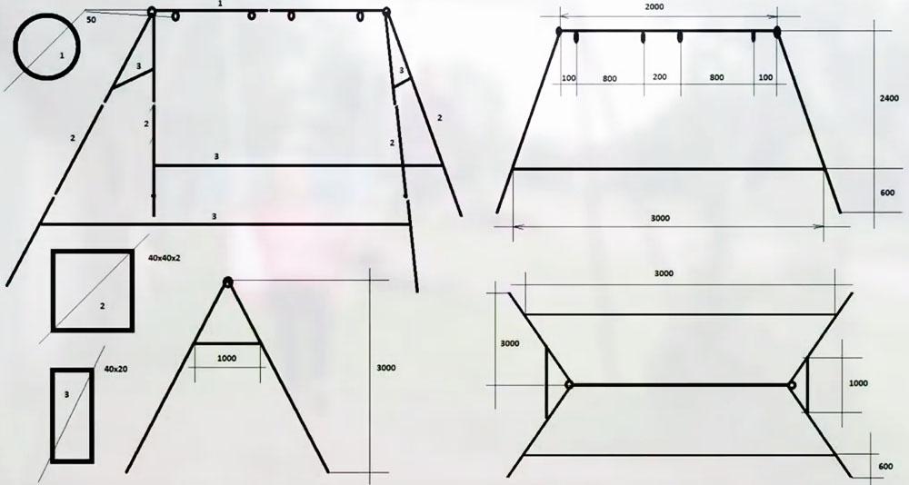 Конструкция рассмотрена на схеме со всех ракурсов