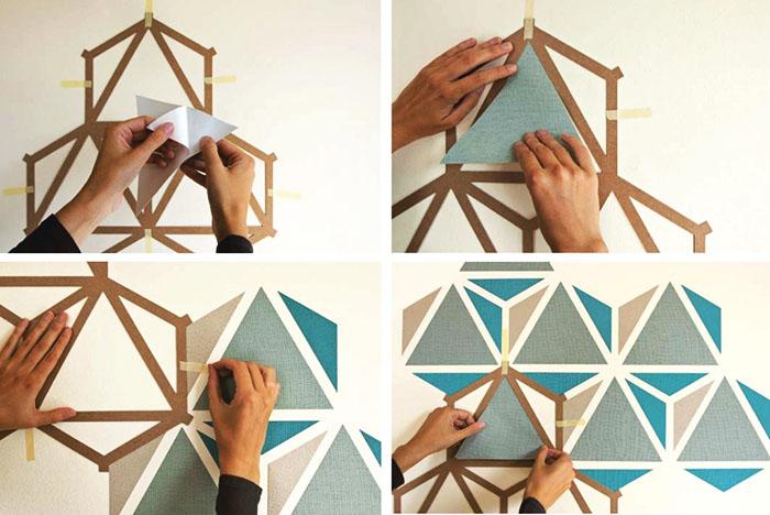Один небольшой трафарет можно использовать при формировании узора на габаритной стене. Важно правильно рассчитать все расстояния от уже высохших фигур