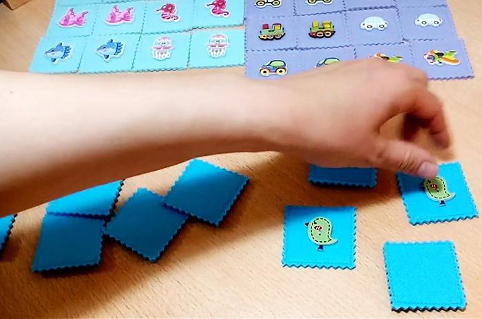Игру на память делают из бумаги, картона, фетра, крышек от банок