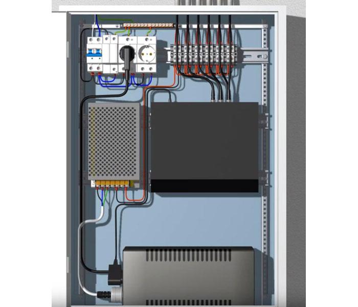 Коммутационный шкаф системы видеонаблюдения с установленными в нём источником питания, блоком бесперебойного питания и видеорегистратором