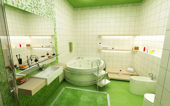 Графитовый цвет фуги сочетается с различными тонами зелёной цветовой палитры