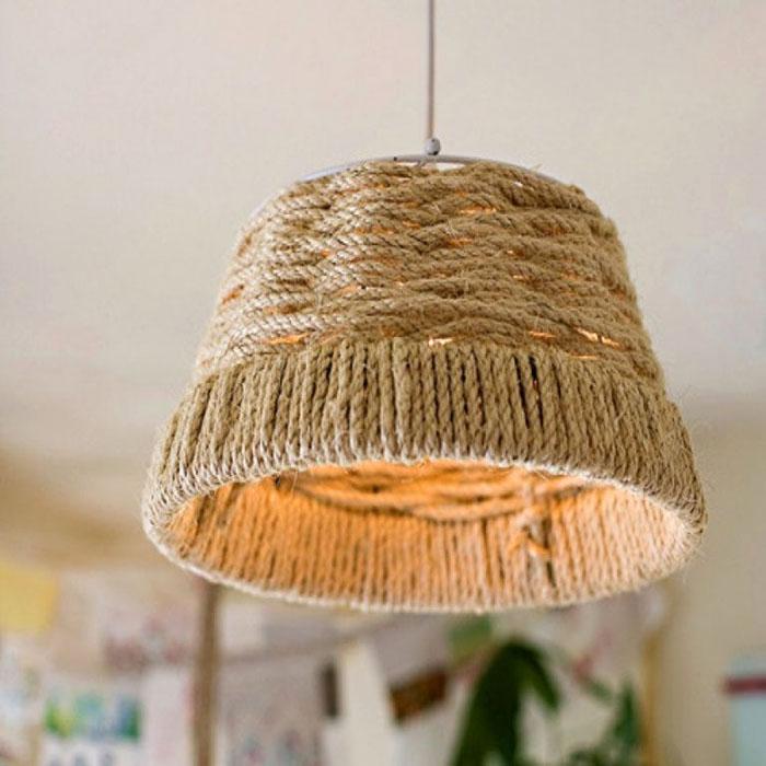 Навесной торшер из жгута с каркасом для светодиодной лампы