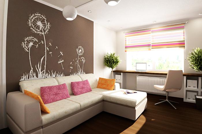 Превосходный интерьер гостиной в хрущёвке с отличным решением для рабочей зоны