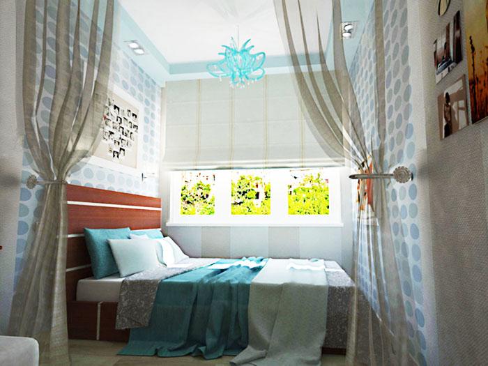 Если располагать кровать вдоль одной стены, то останется больше свободного места