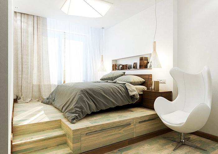 Кровать на подиуме предоставляет больше места для хранения
