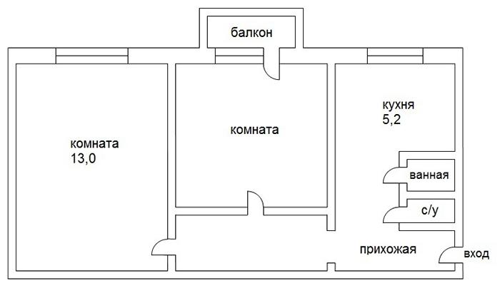 По площади планировка «книжка» равна 41 м²