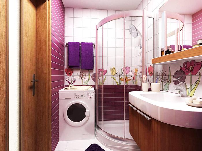 С одной стороны умещается унитаз, с другой – найдётся место для стиральной машинки