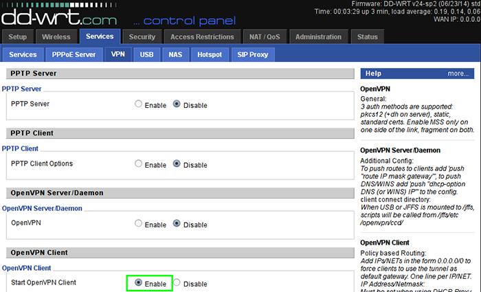Так выглядит закладка vpn-сервера в контрольной панели маршрутизатора
