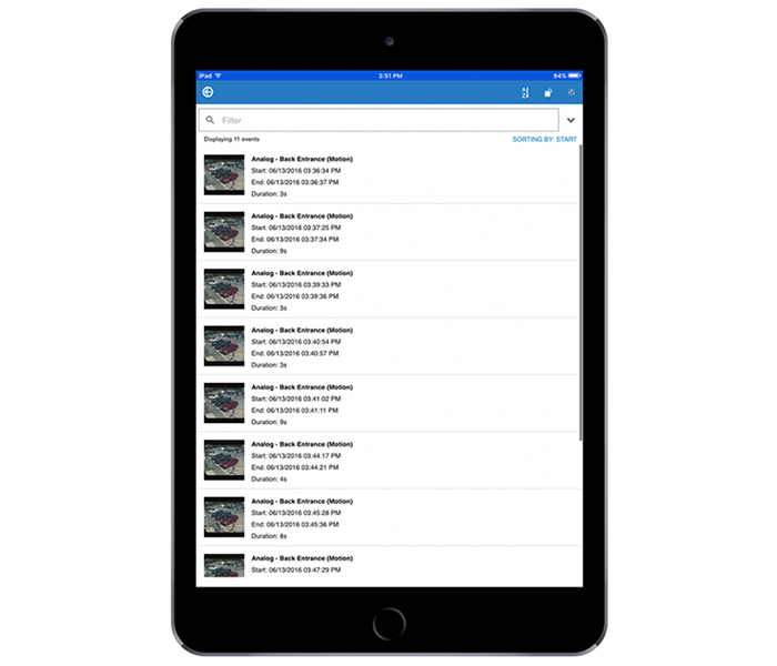 Выбор удалённого устройства для воспроизведения в приложении Exacq Mobile