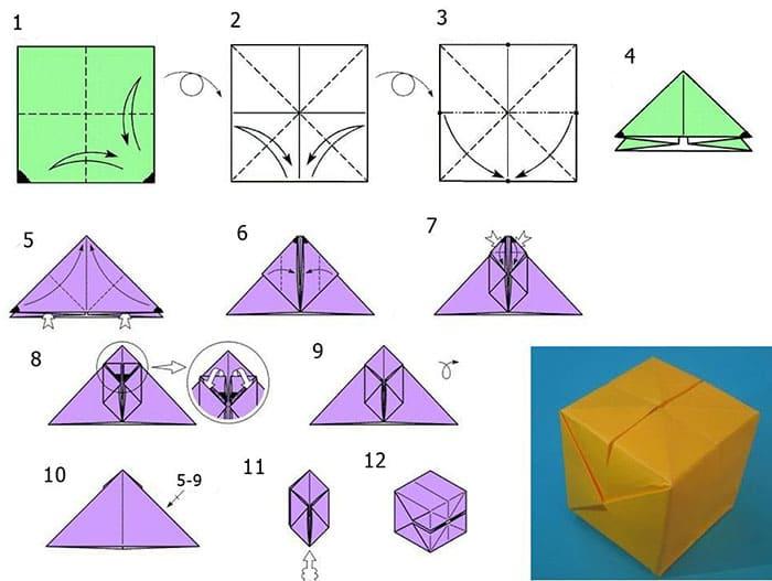 Схема сборки оригами