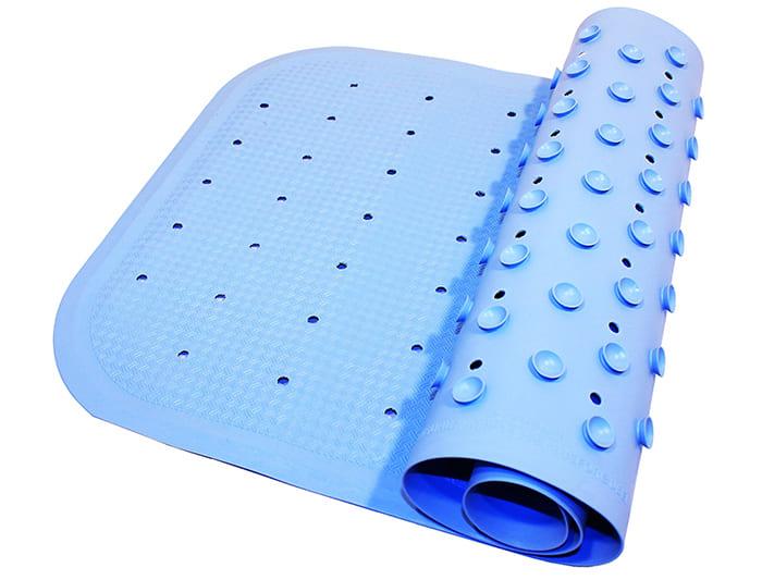 Цвет и фактура у материала разнообразные, а присоски надёжно фиксируют его на полу