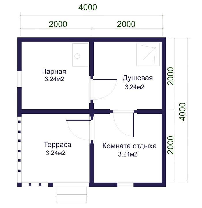 Во внутренней планировке можно разместить небольшой душ, комнату отдыха и парную