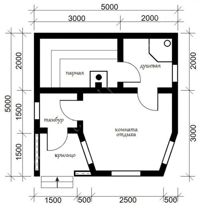 Полноценный проект бани без второго этажа