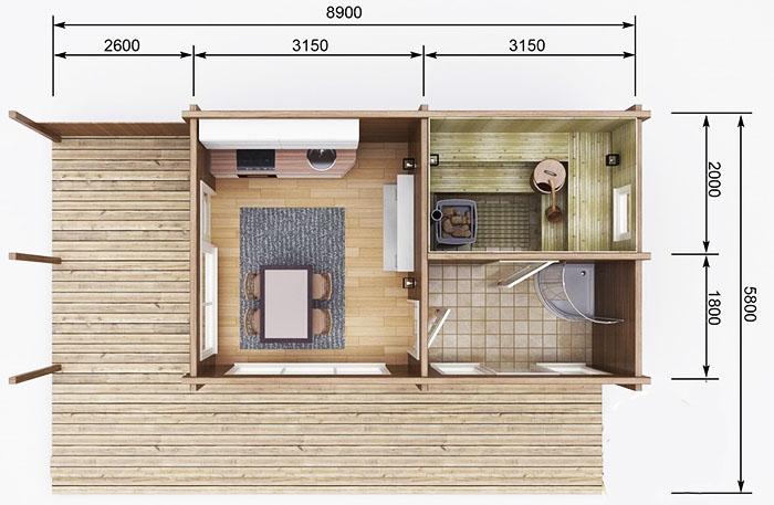 В таких постройках крыльцо может иметь самую маленькую площадь среди всех помещений