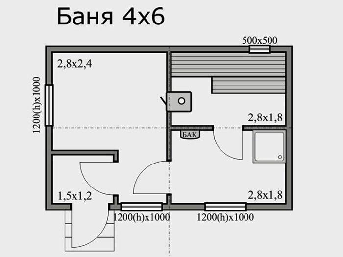 При обустройстве двухэтажной бани, по проекту верхний этаж может состоять всего из одного помещения