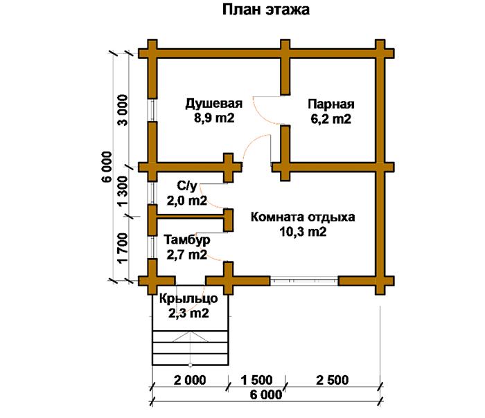 При обустройстве бани следите за тем, чтобы площадь парилки была не менее 6,2 м²
