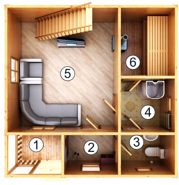 Первый этаж дачного домика может полностью быть оборудован под парилку