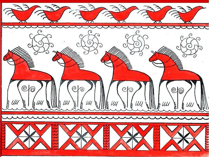 Мезенская роспись существенно отличается от остальных