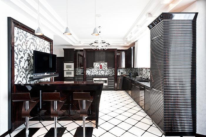 Для кухни безупречным выбором будет чёрно-белая гамма