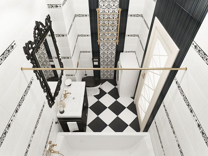 Чёрно-белая геометрия с изящной зеркальной рамой