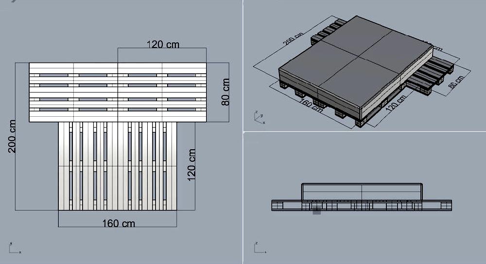 Двуспальная кровать с устройством прикроватных платформ, исполняющих функцию полок или подставок под светильники