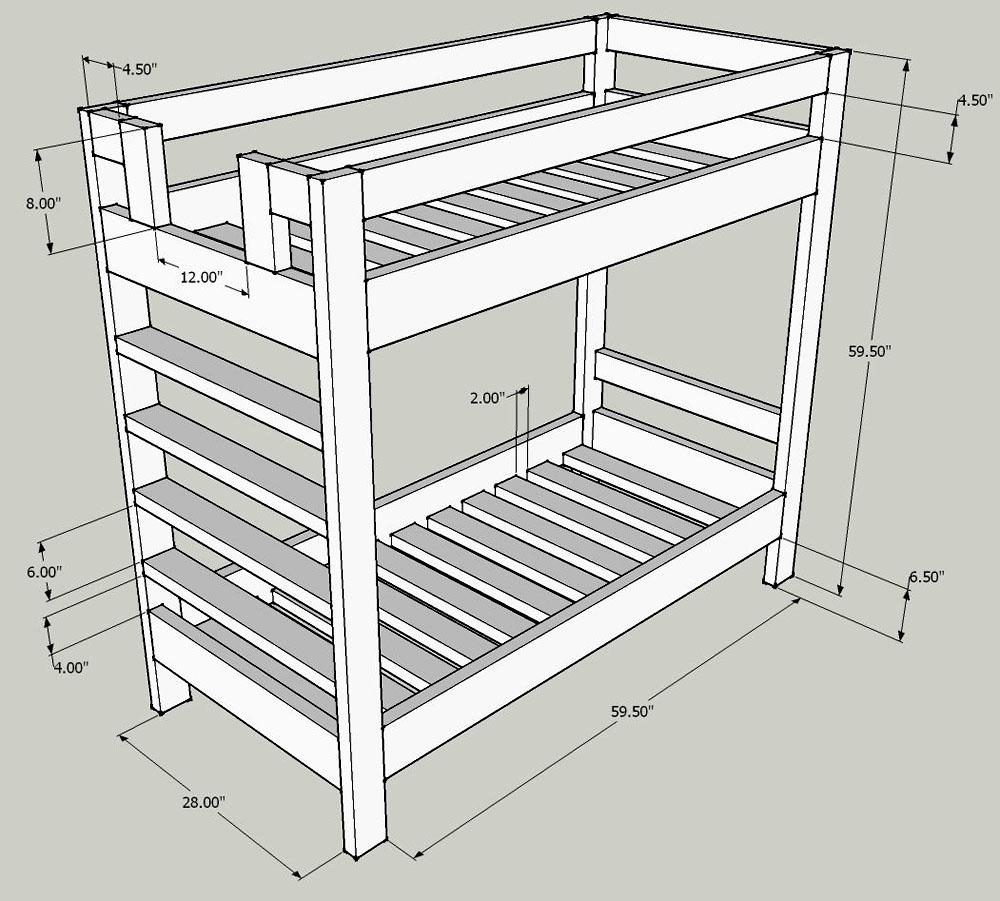 Чертёж двухъярусной кровати с размерами каждого проёма и общими параметрами каркаса