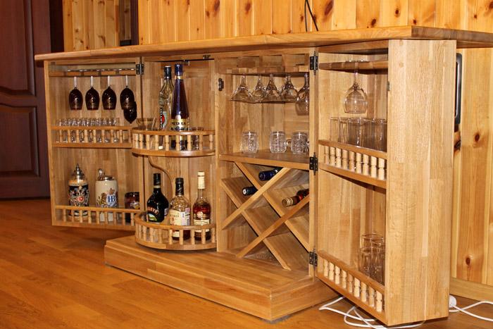 Мини-бар под заказ из дерева с разными вариантами полок и навесов