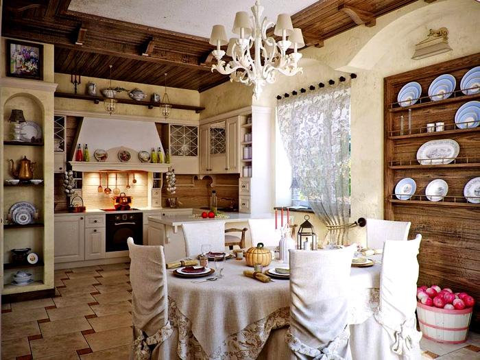 Для декора нужны охотничьи трофеи, фарфор, хрусталь, красивые тарелки с росписью